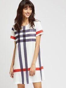 Multi-checkered Tee Dress