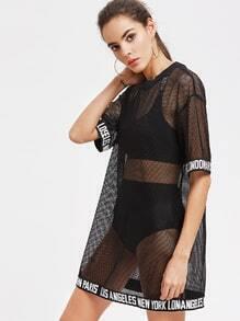 Slouching Kleid Gitter welt Logo