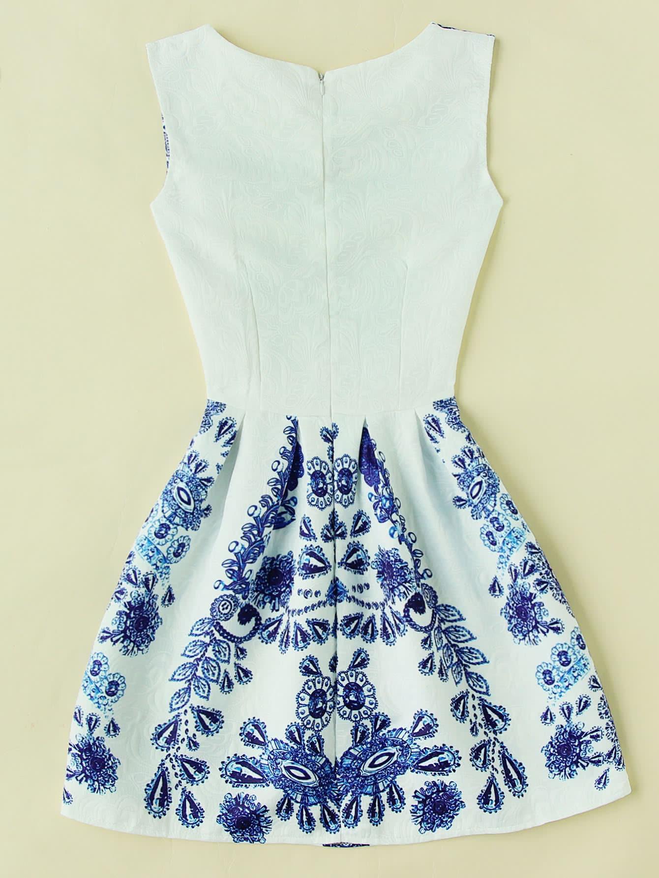 Porcelain Print Embossed Fit Amp Flare Dressfor Women Romwe
