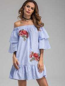 Bardot Neckline Striped Flower Patches Frill Dress