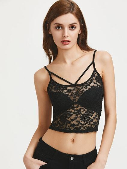Strappy Neck Sheer Floral Lace Cami Top