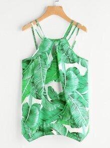 Palm Leaf Print Keyhole Asymmetric Hem Cami Top