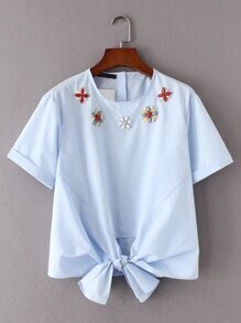 Knot Front Jewelry Embellished Top