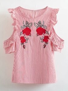 Frill Trim Pinstripe Embroidery Top