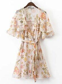 Bell Sleeve Tie Waist Layered Dress