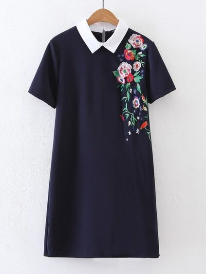 Contrast Collar Flower Embroidery Dress