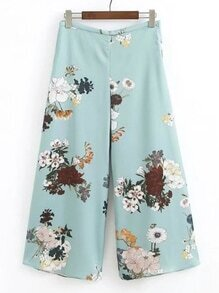 Floral Print Zipper Side Wide Leg Pants