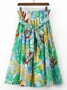 Tie Waist Tropical Print A Line Skirt