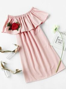 Flounce Layered Neckline Rose Embroidered Applique Dress