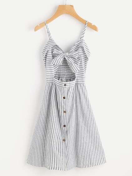 Stripe Cut Out Bow Front Foldover Cami Dress