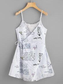 Striped Slogan Print Wrap Self Tie Cami Dress