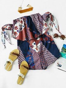 All Over Printed Self Tie Sleeve Layered Romper