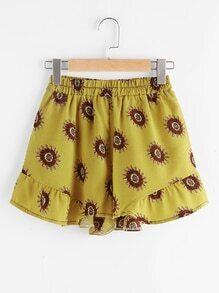 Printed Random Frill Trim Shorts
