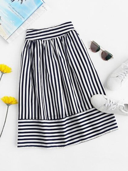 Striped Elastic Waist Skirt