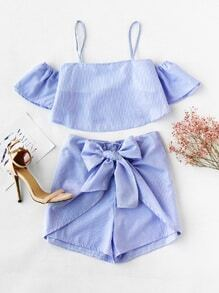 Open Shoulder Pinstriped Top With Bow Tie Shorts