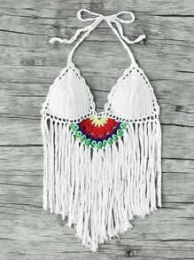 Fringe Hem Crochet Triangle Bikini Top