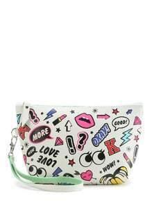 Mixed Print Makeup Bag With Wristle