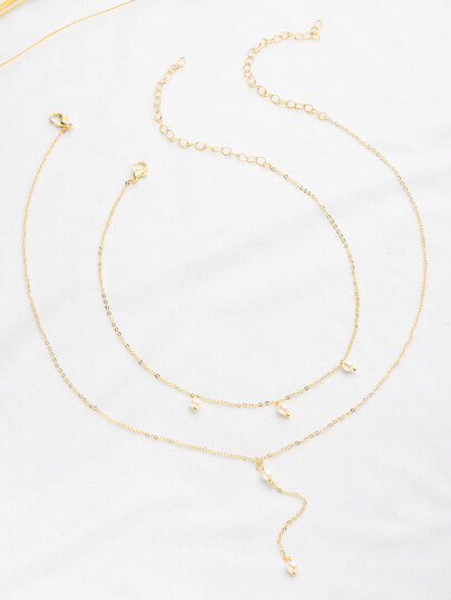 Faux Pearl Embellished Chain Necklace Set