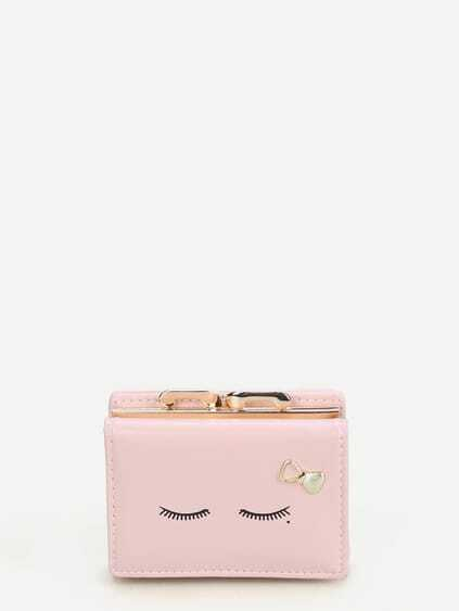Metal Bow Detail Print PU Wallet