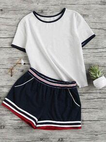 Buy Ringer Tee Striped Waist Binding Shorts Set