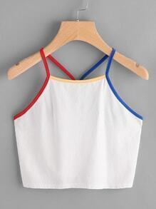 Buy Contrast Binding Y-Back Crop Cami Top