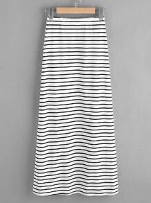 Elastic Waist Striped Jersey Skirt