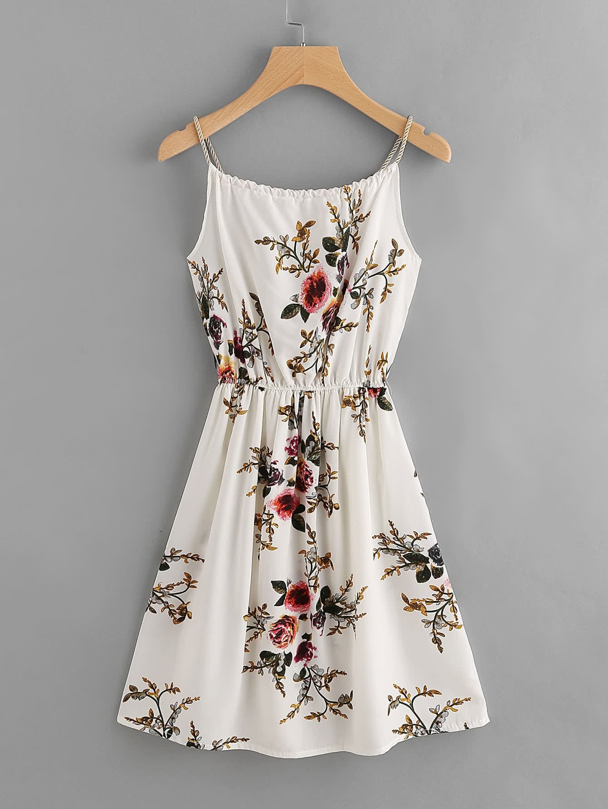 花葉 圖片 隨意 綁帶 無袖女用胸衣 洋裝