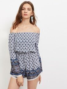 Buy Shoulder Printed Lace Trim Romper