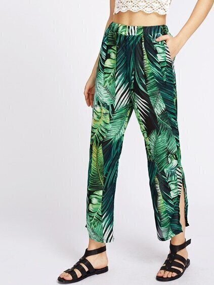 Leaf Print Split Side Chiffon Pants