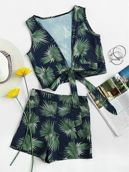 Plunging V Neckline knot Leaf Print Top With Shorts