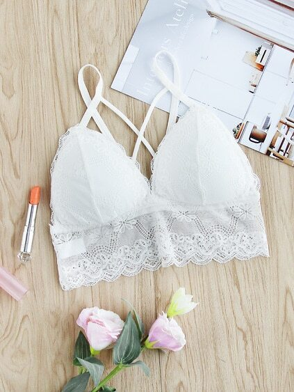 Criss Cross Strappy Back Lace Bralet