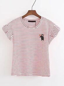 Bear Print Striped Tee