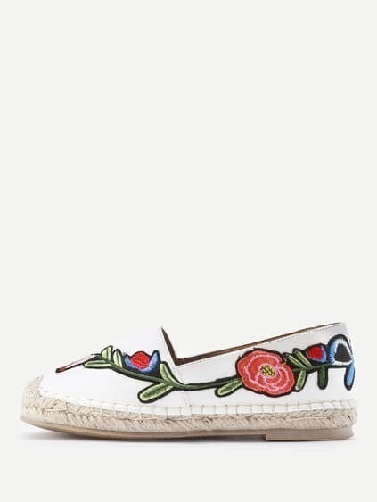 Flower Embroidery PU Espadrille Flats