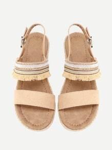 Flat Sandalen mit Fransen