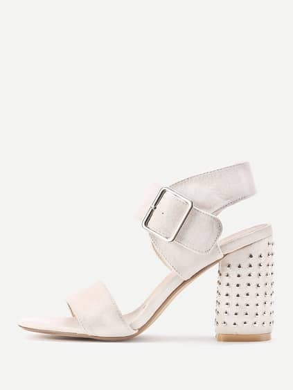 Rivet Studded Block Heeled Sandals