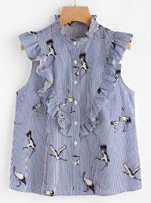 Cranes Print Frill Embellished Striped Sleeveless Blouse