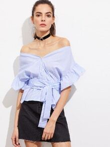 Button Front Frill Sleeve Striped V Bardot Top