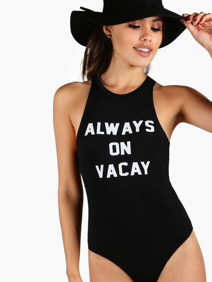 Body con estampado de slogan