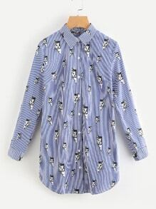Gestreiftes Hemd Kleid mit aufgedruckten Ärmel hochgekrempelt Katze