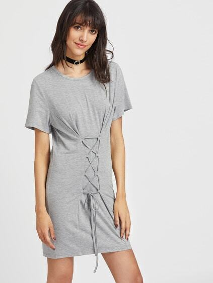 Lace Up Front Heathered Tee Dress
