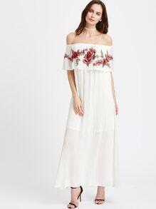 Schulterfreies Kleid mit Stickereien und schößchem Saum