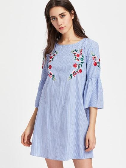 Fluted Sleeve Blossom Embroidered Striped Dress