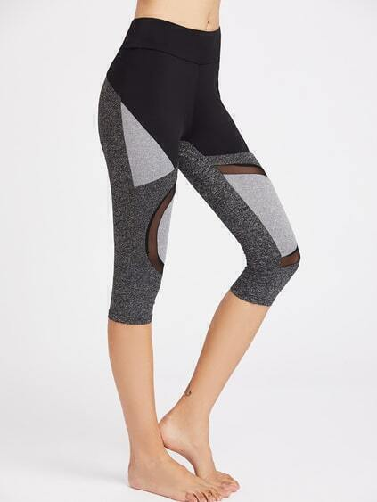 Leggins cortos de punto de malla con panel en color block