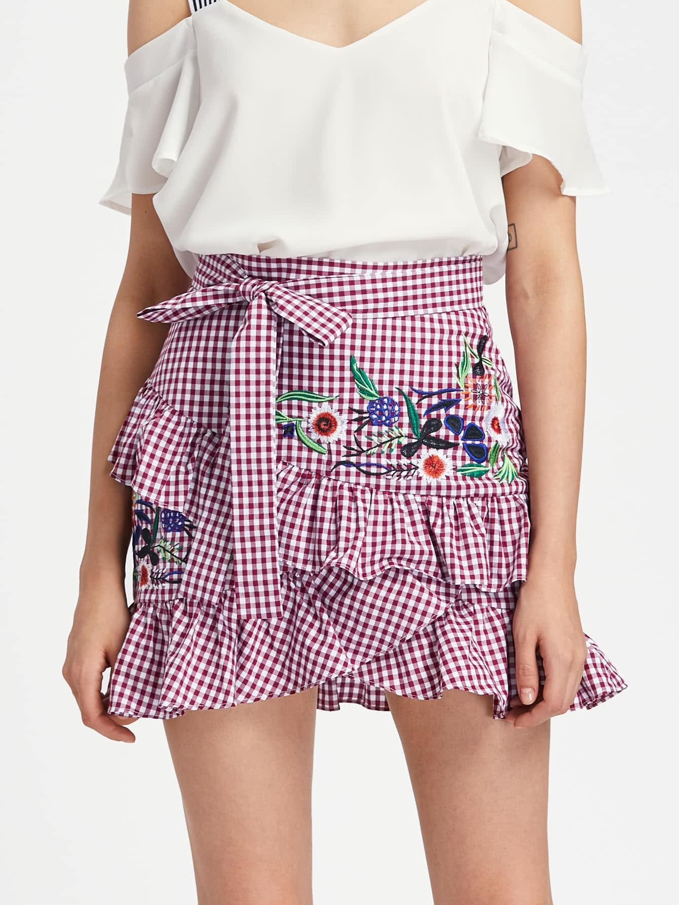 Self Belt Embroidered Asymmetric Ruffle Checkered Skirt