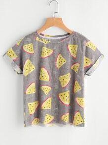 T-shirt mit Wassermelonemuster und Punkte