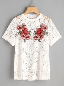 Rose Patch Floral Lace Tee