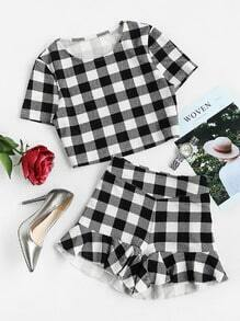 Checkered Crop Top And Ruffle Shorts Co-Ord