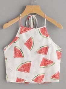 Watermelon Print Frayed Dot Detail Halter Top