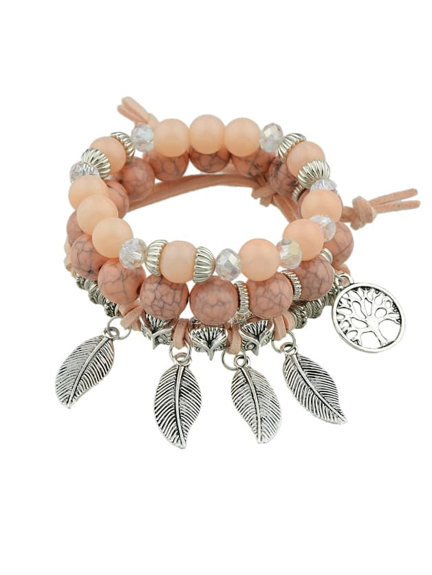 Pink Color Boho Feather Charms Multilayers Elastic Beads Chain Bracelet