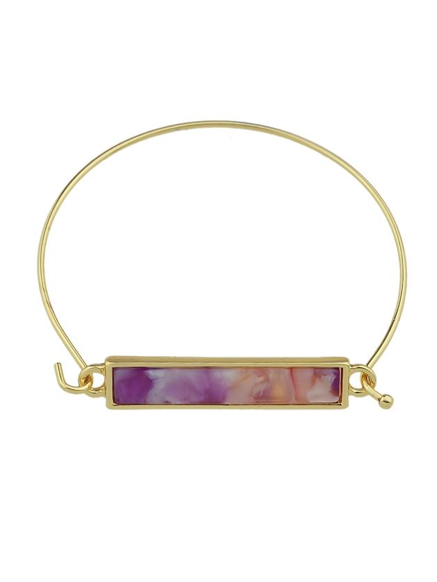 Boho Acrylic Stone Purple Color Thin Metal Bangle